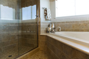 Shower and bathtub in a home