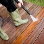 A wood deck we power washed in Plano Texas on 4/12/17