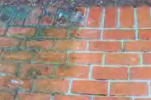 Brick walkway being power washed
