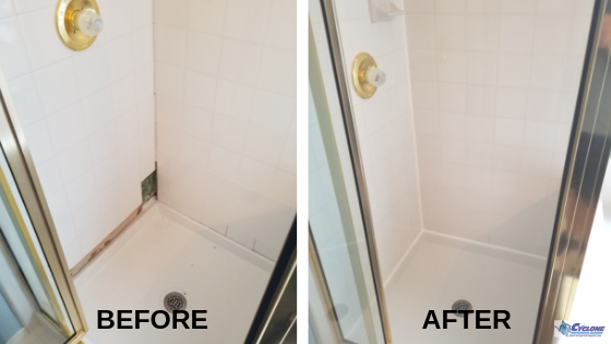 Bathroom restoration before and after - Cyclone Professional Cleaners