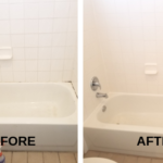 A photo of a bathtubs tiles before and after cleaning in Garland Texas