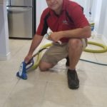 A tile & grout floor being cleaned and sealed in Frisco Texas on 3/20/18