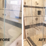 A before and after photo of a shower's tiles being cleaned in Parker Texas