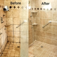 a before and after picture of a shower having its tile grout whitened