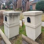 A before and after picture of a stone mailbox we power washed in Dallas Texas