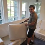 Cleaning a couch cushion in Frisco Texas on 9/1/19