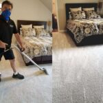 Before and after a home bedroom carpet cleaning in The Colony Texas
