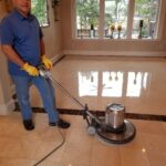 A marble floor being polished in McKinney Texas