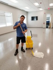 cyclone professional cleaners cleaning a vinyl floor