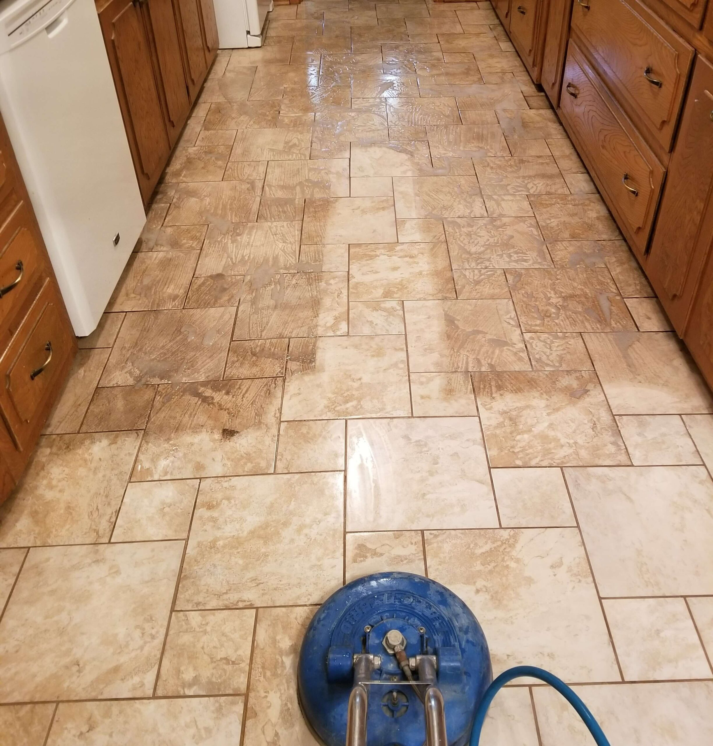 tile and grout in a Plano Texas kitchen being cleaned