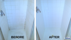 Shower tile and grout before and after